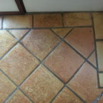 before cleaning ceramic tiles & grout