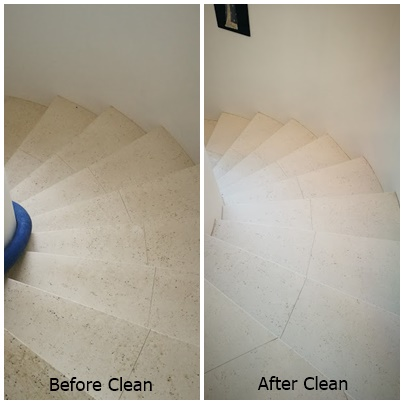 before & after tile clean stairs