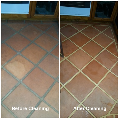 before & after terracotta tile & grout clean