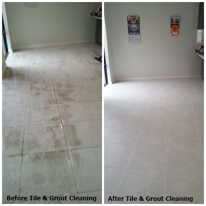 during & after tile & grout clean