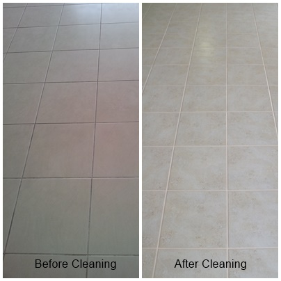 before & after grout clean