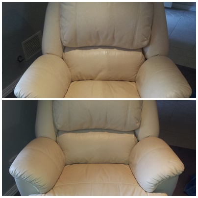 before & after leather clean